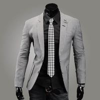2013 New Design Mens  Fashion Houndstooth 100% Cotton Slim Single Breasted Blazer Dress suit   Freeshipping