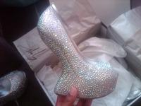 2014 new Mwy senior gem luster crystal shoes luxury crystal horseshoe heel wedding shoes