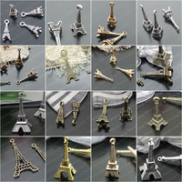 (27137)Fashion Jewelry Findings,Accessories,Vintage charm,pendant,Alloy Antique Bronze Eiffel Tower Randomly mixed total:40PCS