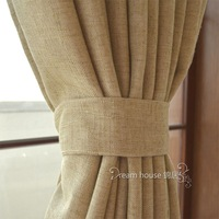 Fluid yarn dyed solid color solid color circled quality double layer hemp curtain