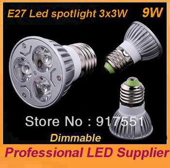 shipping free 30pcs/lot E27/MR16/GU10 9W Dimmable LED Downlight Led lights Lamp lighting Bulb Warm / pure White Spotlight-A3