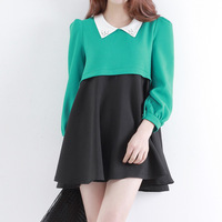 2013 spring beading peaked collar puff sleeve loose colorant match thickening zf003 one-piece dress -Free Shipping