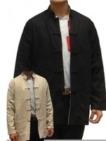 Black beige Linen  Reversible Two-Face Chinese tradition Men's Kung Fu Jacket Outerwear Coat S-XXXL