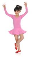 New Girls Long Sleeve Party Dance Gymnastics Leotard Skirt Ballet Tutu Dance Skate Dress SZ 3-8Y, 3 colors Free Shipping!