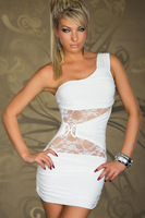 Sexy One-shoulder Bodycon Mini Dress With Lace Inserts Cheap Price Dropship Free Shipping