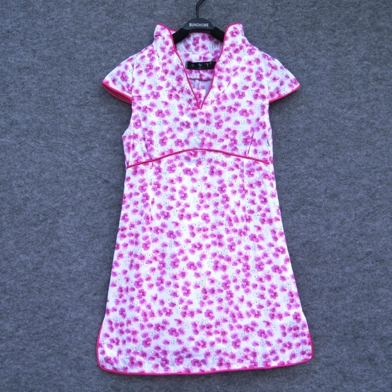 100% cotton print girl 100% cotton cheongsam dress female child cheongsam female child princess dress(China (Mainland))