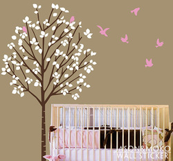 Nursery Wall Decal - Tree girl vinyl decal - forest birds wall sticker customized decal wall art 100*173CM Free shipping(China (Mainland))