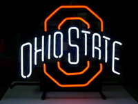 NEW OHIO STATE BUCKEYES REAL GLASS NEON LIGHT BEER PUB SIGN FREE SHIPPING 17*13