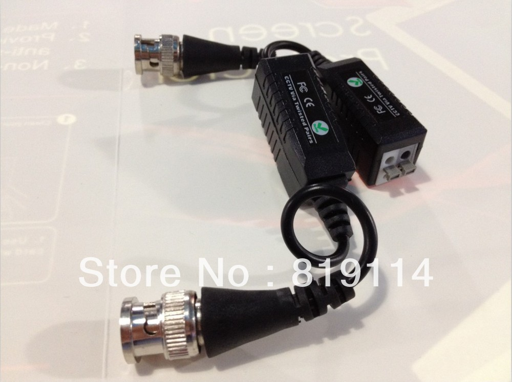 Twisted Video Balun passive Transceivers CCTV DVR camera BNC Cat5 UTP security 10pairs from amay(China (Mainland))
