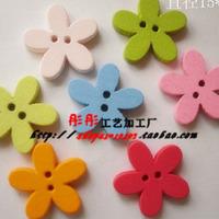 mix order (Min. Order button is $15 )100pcs 15mm 2 holes flower wood buttons mixed cute round flatback cartoon wooden buttons