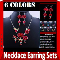 2013 Unique  New Free Shipping Retail Trendy Lucky  Arylic  Alloy Necklace And Earring Jewelry Sets  Red Color W19769A01