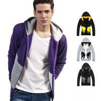 2013 new fashion spring and autumn winter mens hoodies and sweatshirts sport wear for men color matching casual hooded D097