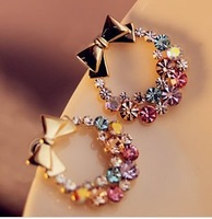 Exquisite !  is your favorite   sparkling ! colorful rhinestone garishness bow stud earrings   free shipping  2pair /lot