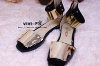 Women's vivi color block gold paillette open toe rivets flat heel sandals