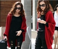 2012 women's medium-long cardigan cape loose plus size sweater outerwear female Free Shipping wholesale