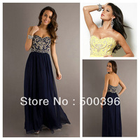 Royal Blue Strapless Beaded Empire Low Back Bohemian Prom Dresses 2013 Long Evening Gown Free Shipping