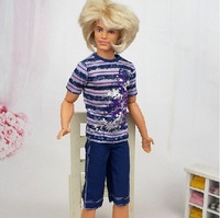 (3 off 13 usd) Summer Beach Clothes Purple T-shirt Pant for Ken Doll