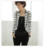 New arrival New Fashion Korean Ladies Women's White Stripes Cardigan One Button OL Suit Outerwear Jacket  free shipping