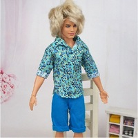 (3 off 13 usd) New Summer Man Clothes T-shirt Blue  Pant Set for Ken Doll