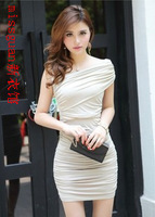 Missguan clothes solid color pleated tube top sexy one-piece dress gentlewomen 640