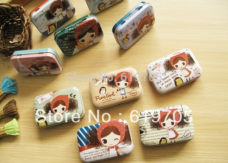 Free shipping vintage tin candy box /cartoon candy iron storage case /gift tin box/ tin container Wedding gifts(China (Mainland))
