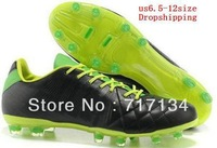 Free EMS Shipping Black Kangaroo Leather Men's Outdoor Soccer Shoes 2013 FG Elite Athletic Cleats Carbon Sole with White Tick
