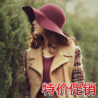 Fashion hepburn woolen large along the cap wave fashion vintage female fedoras large brim hat