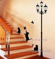 Wall Stickers TV sofa background, Child Kids Wallstickers for home Decoration stair cat Cartoon wall stick removable vinyl decal