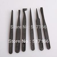 10*6PCS tip flat anti-static Plastic Tweezers Clip repair Maintenance tools kit