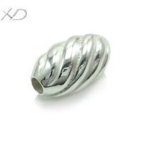 XD P374 925 sterling silver spiral grain beads oval beads for jewelry making fine beads in bulk 10 pieces for 1 lot
