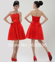 Freee shipping Short Design Evening Dress Red