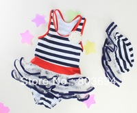2013 baby cute swimwear kids stripes ruffles swimwear  girl  fashion swimwear (hat+swimwear )  5set/lot 201302