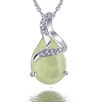 Free Ship Huimart Birthday gift 925 pure silver necklace natural prehnite pendant green crystal pendant Women