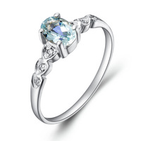 Free Ship Huimart Good Natural Aquamarine Gem Ring Light Blue Crystal Female Fashion Ring S925 Pure Silver Jewelry Gift SR0288AQ