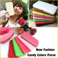 2013 New Ladies' Cute Candy Solid Color Purse PU Leather Lovely Lunch Box Long Wallet 5pcs/lot Free Shipping