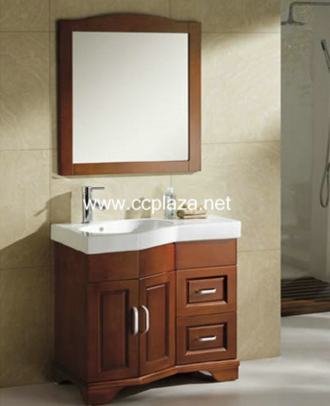 Solid oak bathroom cabinets,wall mount with mirror,countertop and sinks,LH6017(China (Mainland))