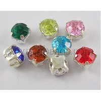 Montee Rhinestones Beads,  Taiwan Acrylic with Brass Findings,  Four-Holes,  Grade B,  Round,  Silver Metal Color,  Mixed Color