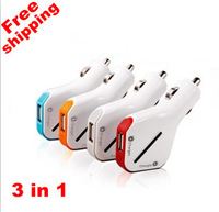 3 in 1 set US 2-Port Dual car charger + USB sync cable for iPhone  +MicroUSB free shipping