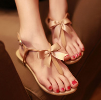2013 Summer Flip-flops Sweet Ribbon Bow Flat Sandals Leather Female Fashion Lady's Flat Heel Shoes KFS074