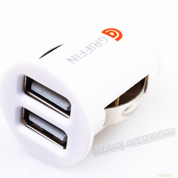 FREE SHIPPING 1pcs White Mini Dual USB 2 Port Car Charger Adaptor For iPhone5 3GS 4 4G iPod 720008