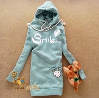 New Fashion Women Letter Hoodies Sweatshirts Winter Warm Cartoon Smile Face Long Design Cute Pullover Hooded Coat for Lady