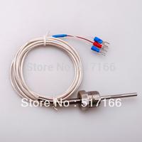 5pcs/lot 2M 40mm  RTD Pt100 ohm Probe Sensor L PT NPT  Thread with Lead Wire freeshipping
