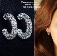 Accessories fashion full rhinestone c ring stud earring no pierced cushiest earrings female earrings 0298