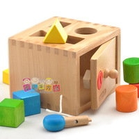 free shipping,Awesome ! building blocks toy wooden shape box geometry shape color water-based paint