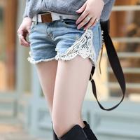 short jeans for women denim brands plus size slim lace patchwork denim women's short jeans thin denim shorts fashion