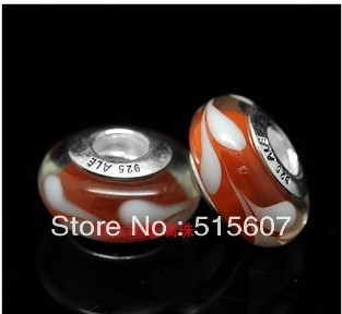 100pcs/lot 925 ALE Silver Core white red Murano Glass Beads Compatible With Pandora Trollbeads Charms Bracelets Necklaces(China (Mainland))