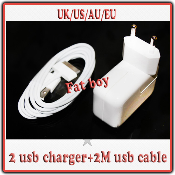 Free shipping 1set,6FT usb cable+5v 3.1A dual usb wall charger for ipad 3 ipad 2 iphone 4s 4g ipod touch 4,EU/US/UK/AU/KR(China (Mainland))