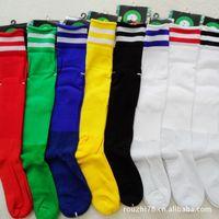 Football socks wholesale real film thicker barreled knee the slip resistant towels bottom 8 colors striped soccer socks wholesal
