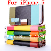 Wallet Leather Case For IPhone 5 5G iPhone5 ,Colourful PU Leather Pouch Credit Card ,DHL Free Shipping