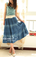 Free shipping Preppystyle patchwork black sewing thread expansion bottom water wash denim skirt bust skirt long skirt summer